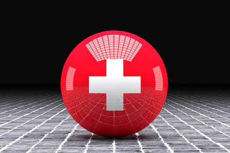 switzerland flag: 3d rendering of a Switzerland flag on a sphere