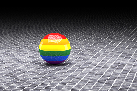 gay flag: 3d rendering of a gay flag on a sphere Stock Photo