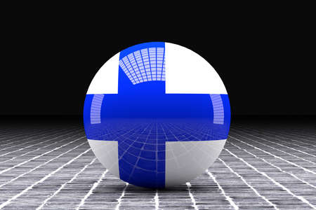 FINLAND flag: 3d rendering of a Finland flag stamped on a sphere