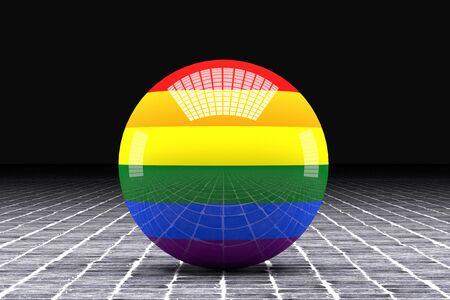 bandera gay: representación 3D de una bandera gay en una esfera