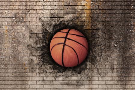 レンガの壁に埋め込まれたバスケット ボールの 3 d レンダリング