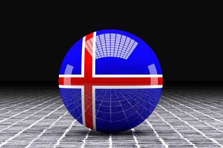 iceland flag: 3d rendering of an Iceland flag on a sphere Stock Photo