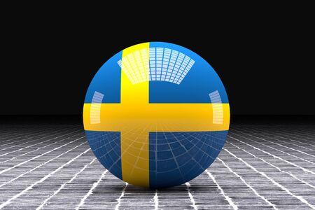 sweden flag: 3d rendering of a Sweden flag on a sphere