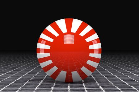 kamikaze: 3d rendering of an old Imperial japanese flag on a sphere Stock Photo
