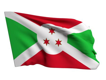 burundi: 3d rendering of a Burundi flag on a white background Stock Photo