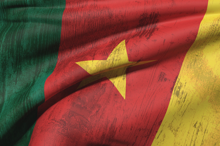 cameroonian: 3d rendering of an old and dirty Cameroon flag Stock Photo