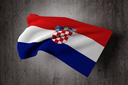 bandera croacia: Representaci�n 3D de una bandera de Croacia en un fondo sucio Foto de archivo