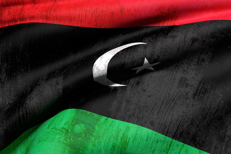 od: 3d rendering of an od and dirty Libya flag waving Stock Photo