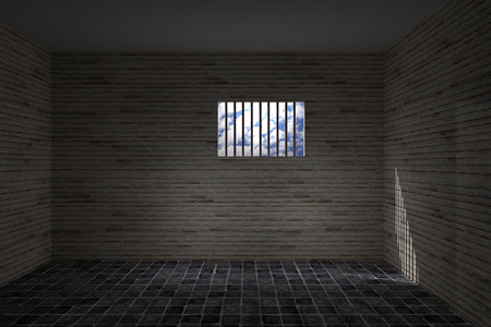 wall cell: 3d rendering of an old jail window Stock Photo