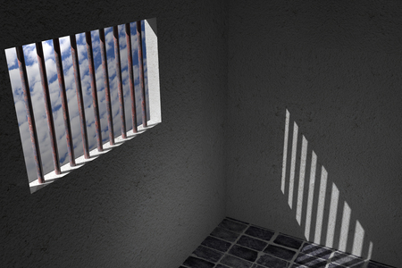 jail cell: 3d rendering of an old jail window Stock Photo