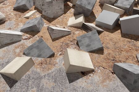 buried: 3d rendering of some textured cubes buried in the floor