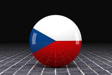 czech republic flag: 3d rendering of a Czech Republic flag on a sphere Stock Photo