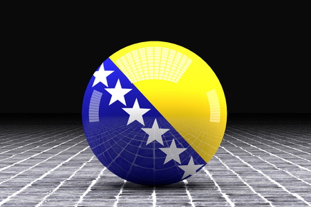 bosnia and  herzegovina: 3d rendering of a bosnia herzegovina flag on a sphere Stock Photo