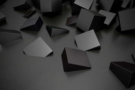 buried: 3d rendering of some black cubes buried in the floor