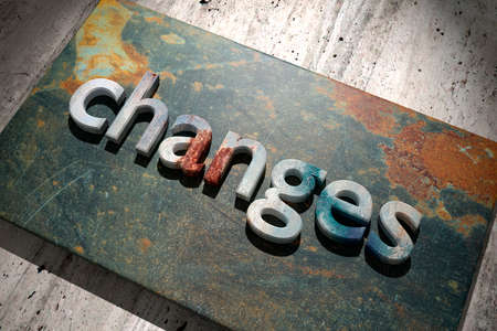 change business: 3d rendering of the word changes over a rusty surface Stock Photo