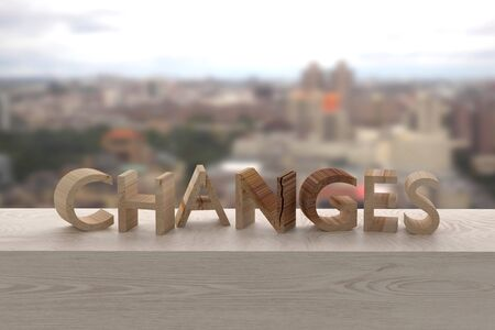 ruin: 3d rendering of the word changes over a wooden surface