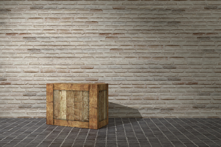 3d rendering of a wooden box on a warehouse Stock Photo - 45523892
