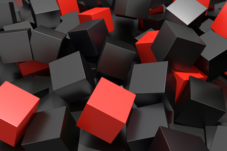 3d rendering with red and black cubes on an abstract composition