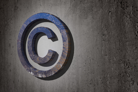 copyright symbol: 3d rendering of a copyright symbol on a dirty background