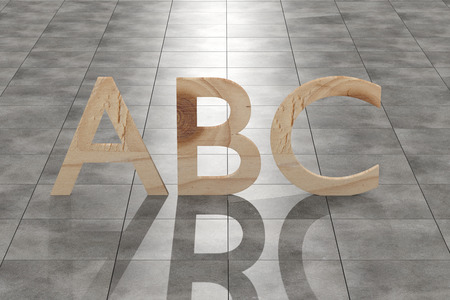 tiles floor: 3d rendering of a wooden abc letters on a tiles floor