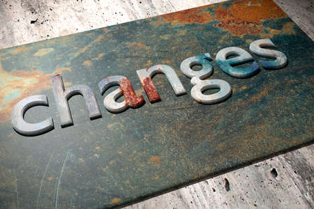 rusty: 3d rendering of the word changes over a rusty surface Stock Photo