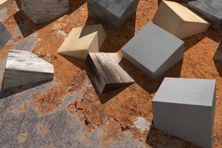 abandonment: 3d rendering of some textured cubes buried in the floor