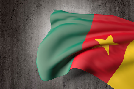 cameroonian: 3d rendering of a Cameroon flag on a dirty background Stock Photo
