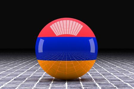 armenia: 3d rendering of an Armenia flag on a sphere Stock Photo