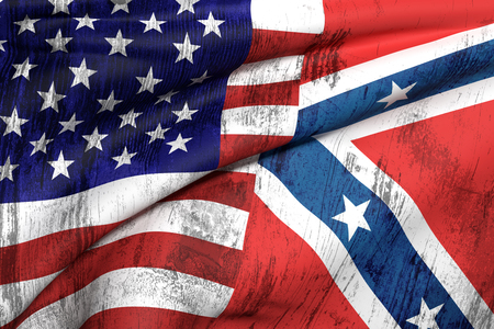 american flags: 3d rendering of an united states and confederate flags Stock Photo