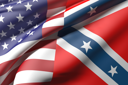 3d rendering of an united states and confederate flags Stock Photo