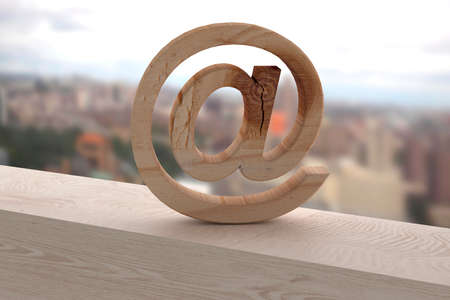 arroba: 3d rendering of an at symbol on a rusty surface