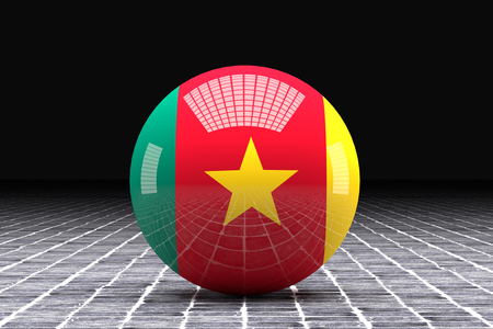 cameroon: 3d rendering of a Cameroon flag on a sphere