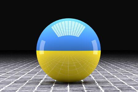 ukraine flag: 3d rendering of an old Ukraine flag on a sphere Stock Photo
