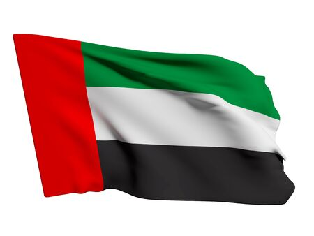 3d rendering of an Arab United Emirates flag on a white background Stock Photo - 45750060