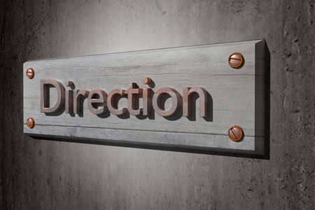 placard: 3d rendering of the word direction in a placard Stock Photo