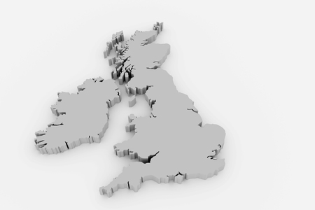 3d rendering of an UK map over a white background