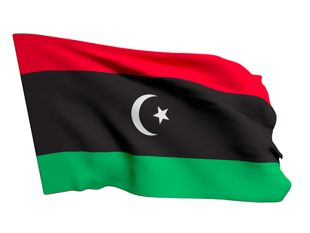 od: 3d rendering of an od and dirty Libya flag waving on a white background Stock Photo