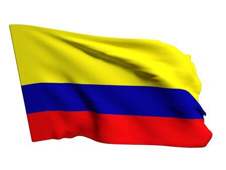bandera de colombia: Representaci�n 3D de una bandera Colombia sobre un fondo blanco