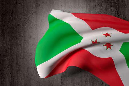 burundi: 3d rendering of a Burundi flag on a dirty background