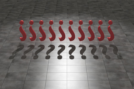 interrogation: 3d rendering of an interrogation symbol and shadow Stock Photo
