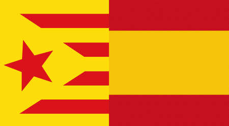 secession: illustration of a catalonia and spain mixed flags, symbol of the attempt of secession of catalonia