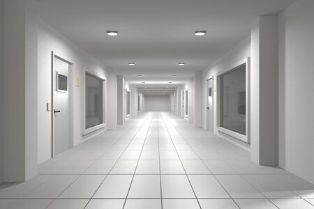 corridor: 3d rendering of an interior scene of an empty corridor Stock Photo