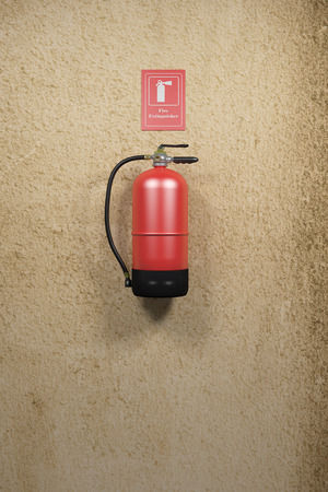 suppression: 3d rendering of a fire extinguisher on a dirty wall