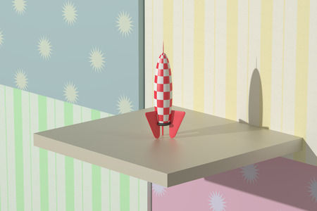 desolation: 3d rendering of a red and white rocket and stars on a colored background