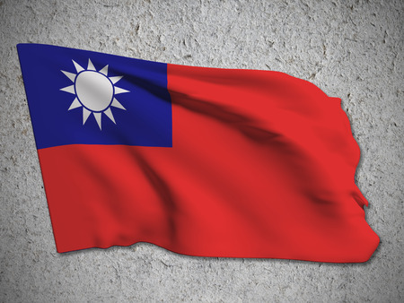 taiwanese: 3d rendering of a Taiwan flag on a dirty background