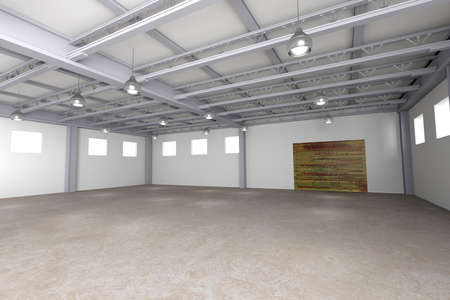 empty warehouse: 3d rendering of a modern empty warehouse Stock Photo