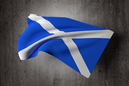 symbolics: 3d rendering of a Scotland flag on a dirty background Stock Photo