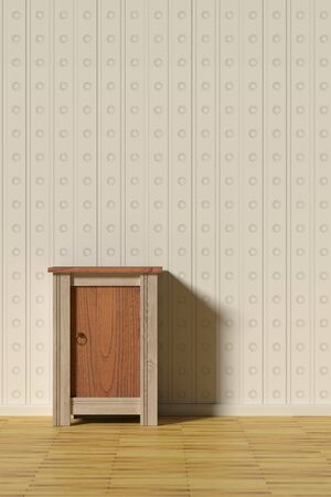 home furnishings: 3d rendering of a classic scene with a nightstand