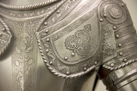 Detail of an european medieval armor 스톡 콘텐츠