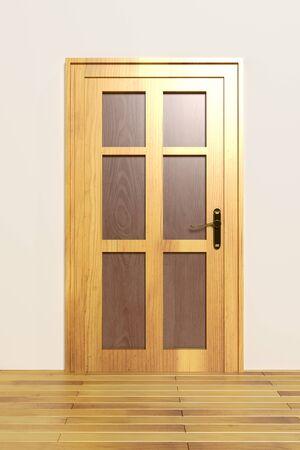 room door: 3d rendering of a minimalism room with a wooden door